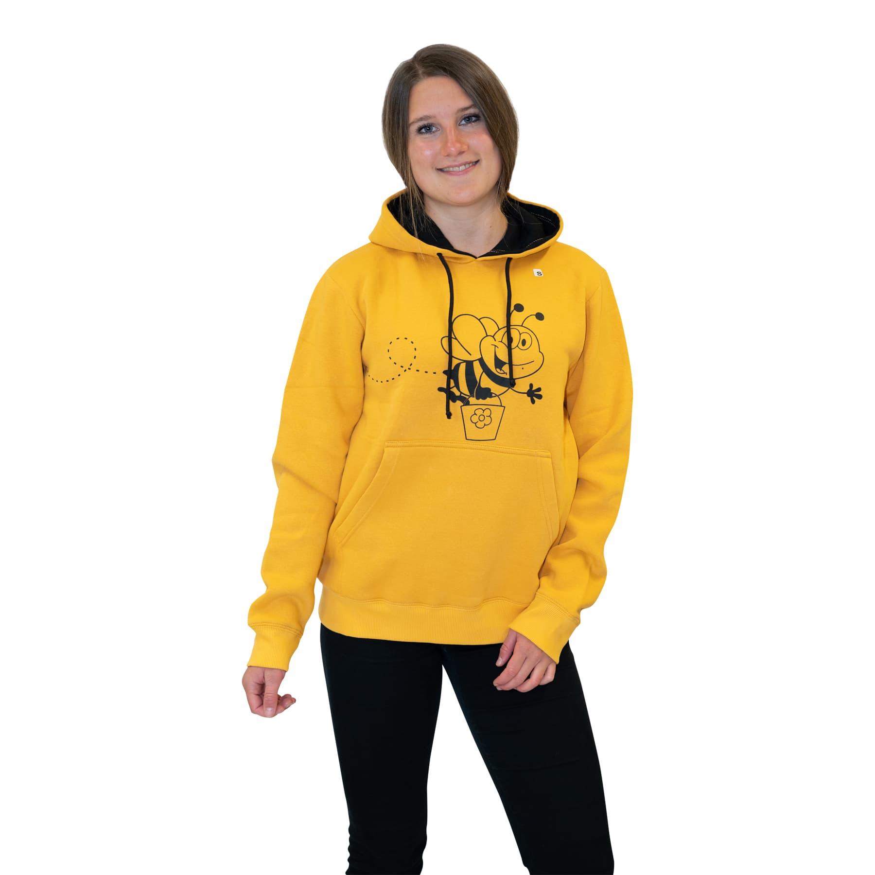 """Hoodie """" Biene mit Honigeimer"""" gelb L"""