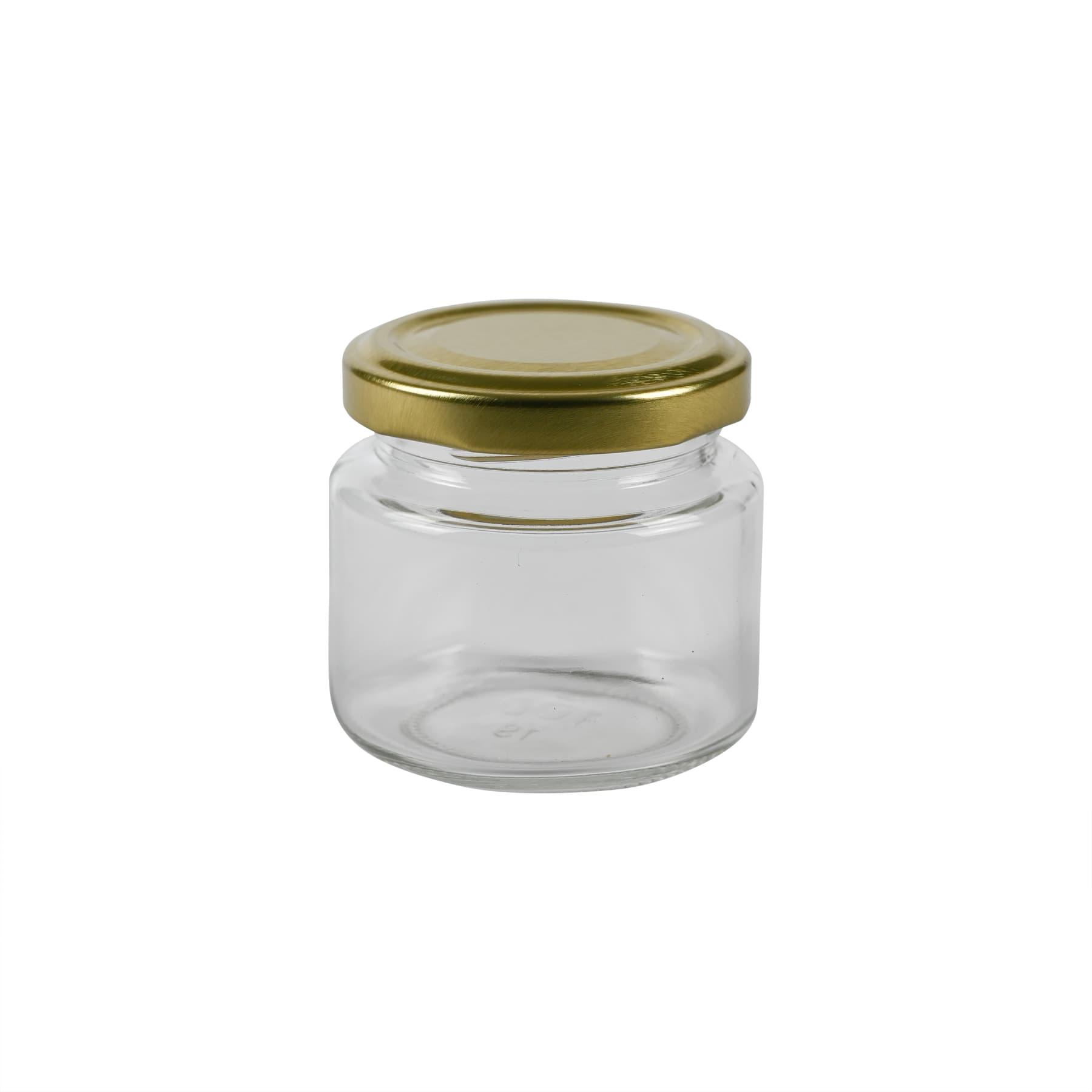 Rundglas 125g (108 ml), mit Twist Off Deckel gold 53mm