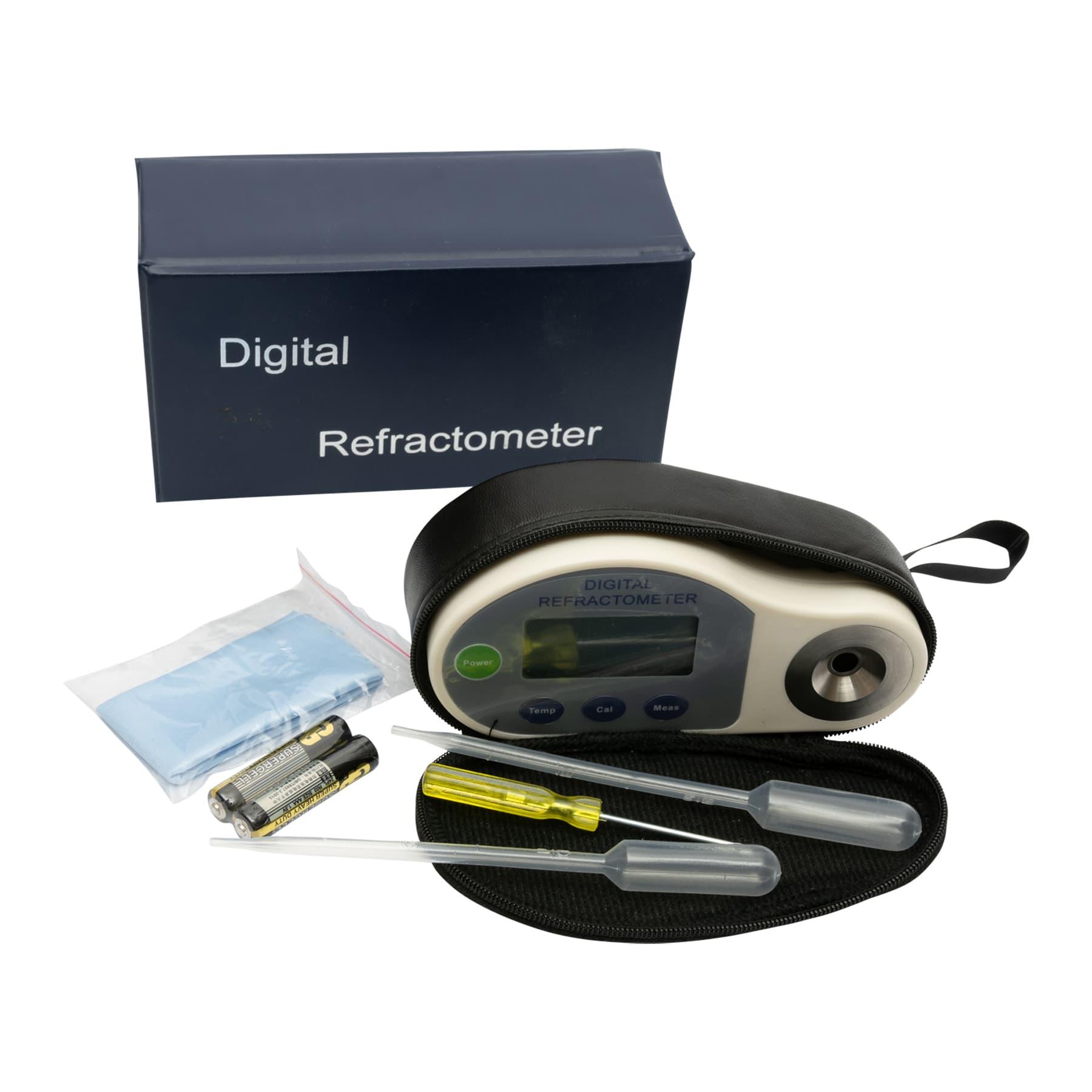 Honigrefraktometer digital Brix-Skala: 58-92% Baume: 38-43 Wasser/Honigfeuchte: 13-25% Brechungsindex: 1.4370 - 1.5233 mit digitalen LCD-Display