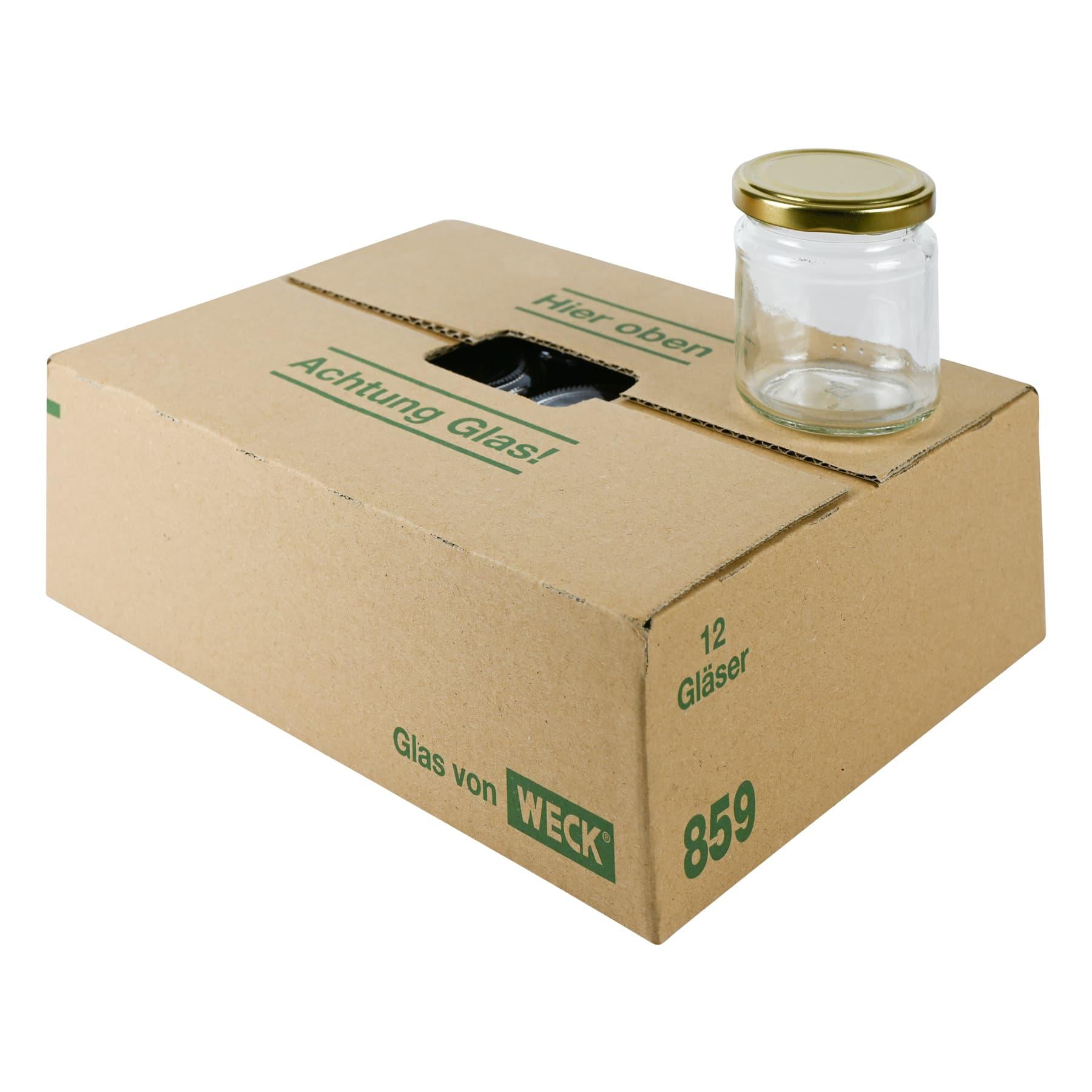 Rundglas 250 g (212 ml), mit T0 Deckel gold 66mm in Karton Weckglas 859 nur Selbstabholung