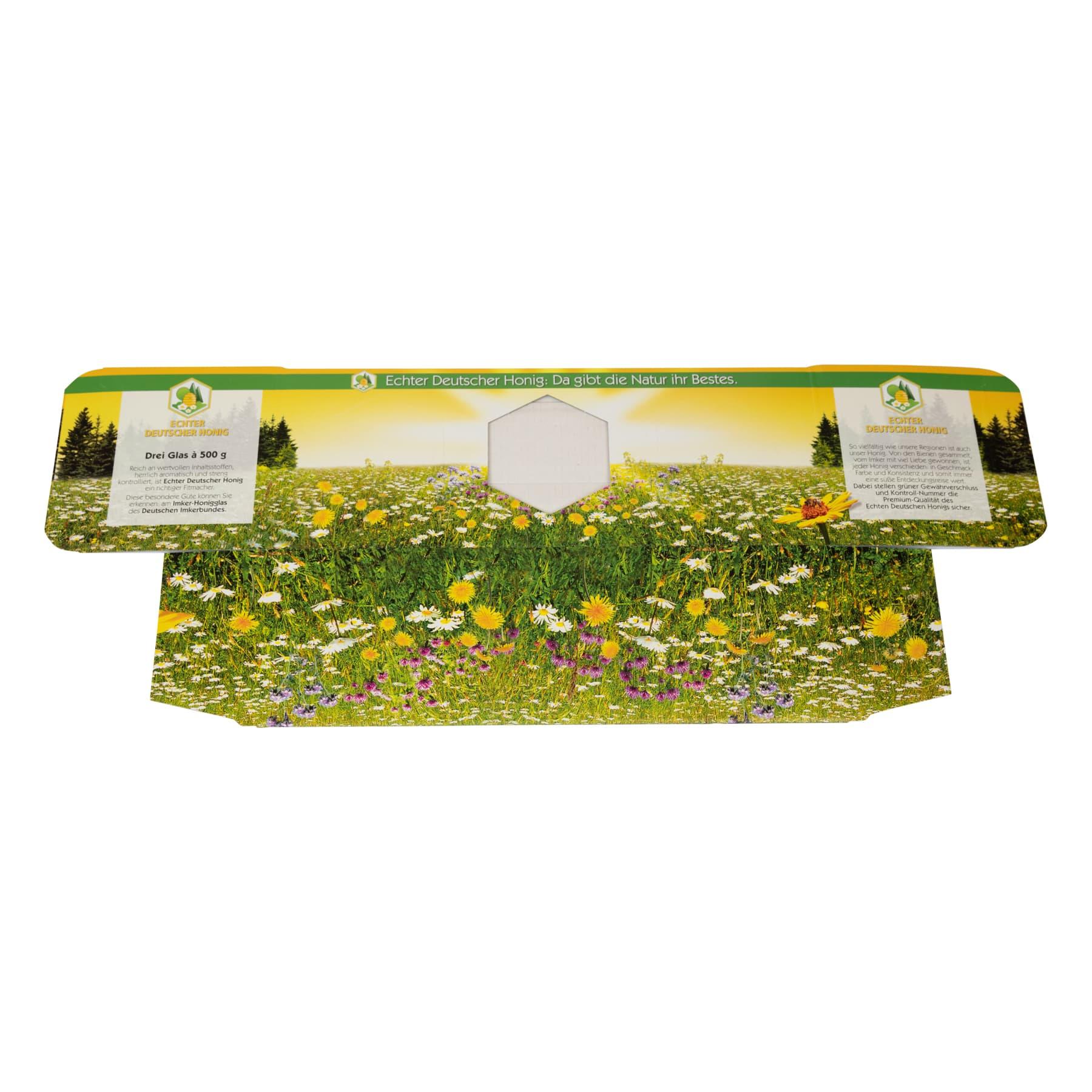 Kartonverpackung für 3 x 500 g Honigglas DIB