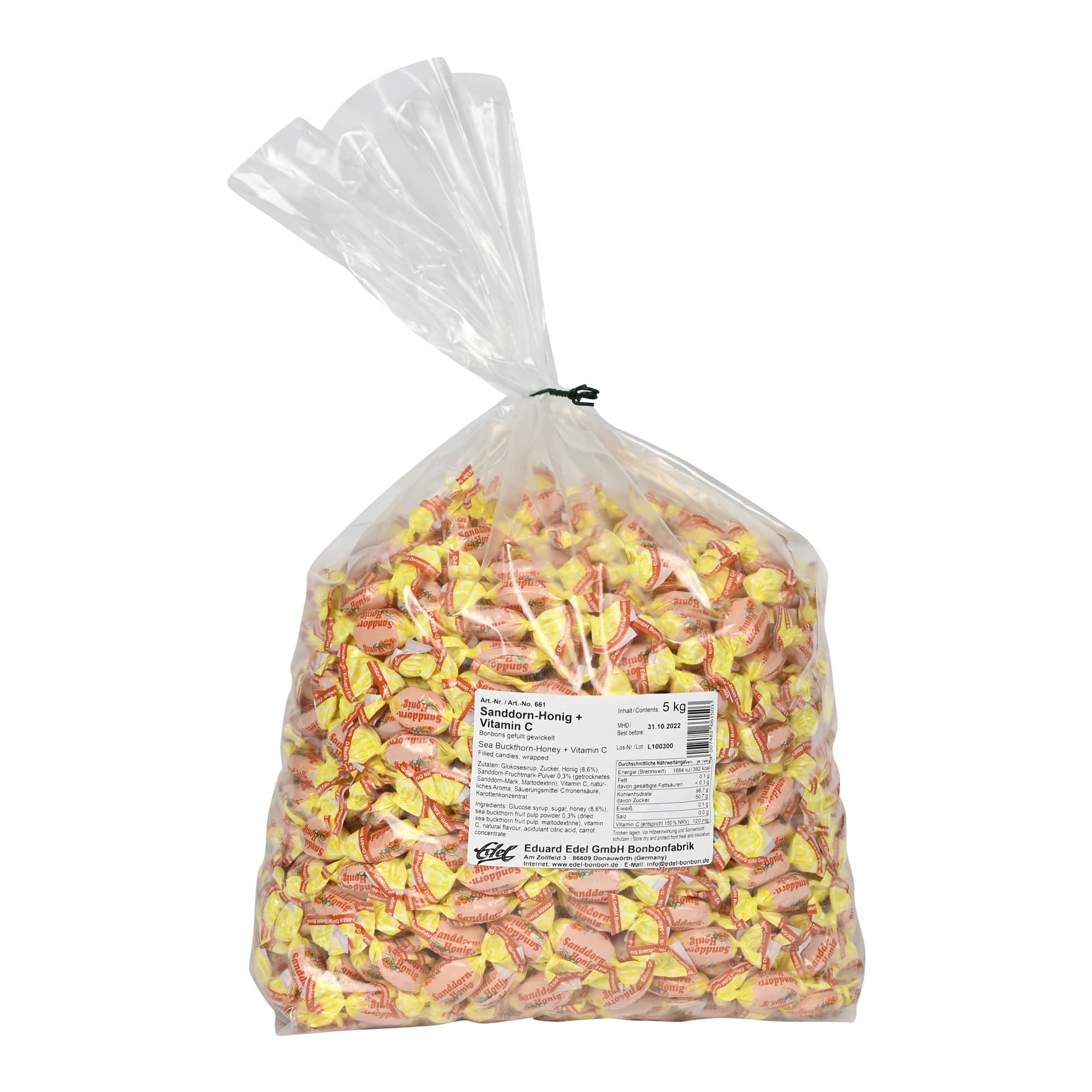 """Honigbonbon """" Sanddorn-Honig  C"""" gewickelt im 5 kg Beutel"""