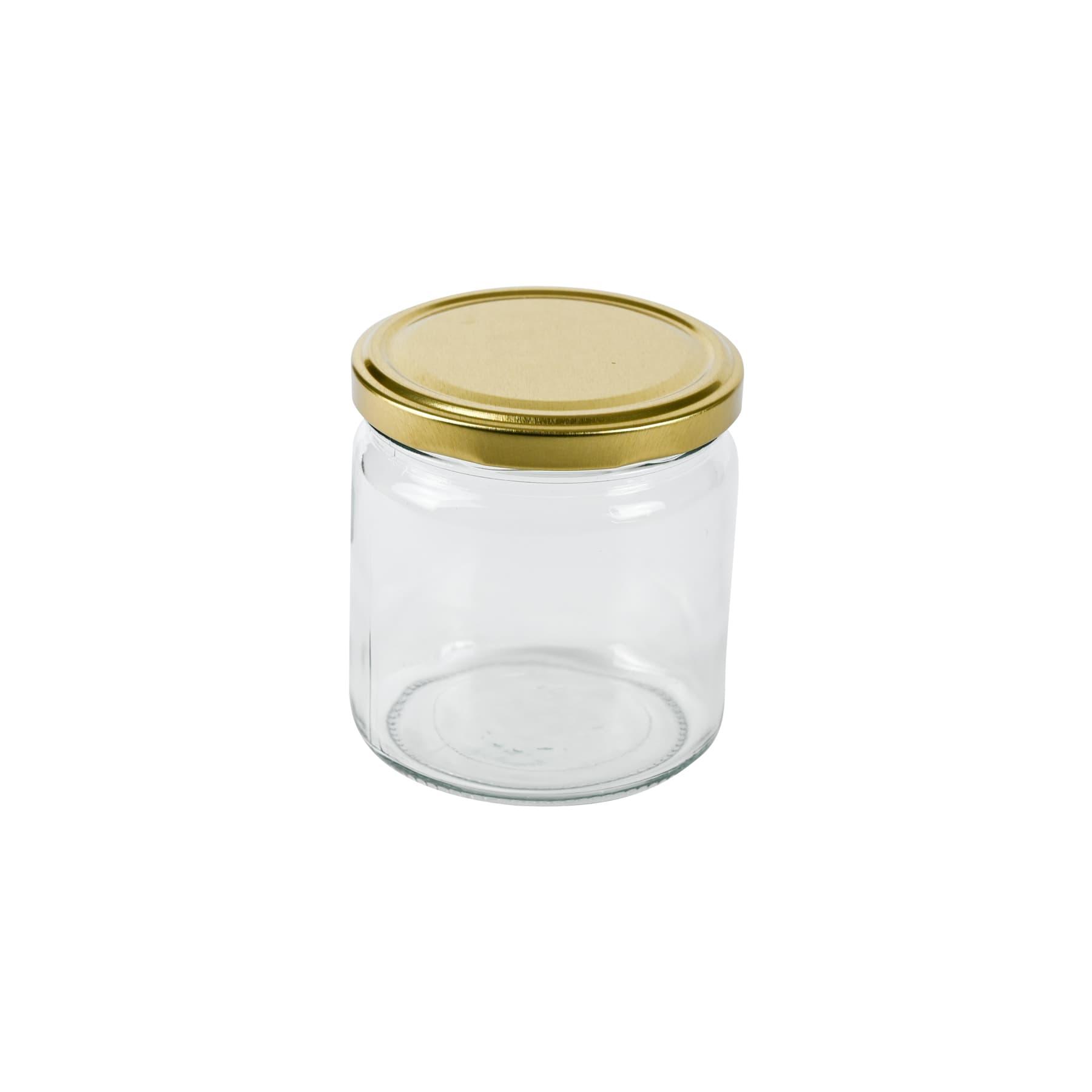 Rundglas 500g (405 ml), mit T0  Deckel gold 82 mm lose ohne Karton