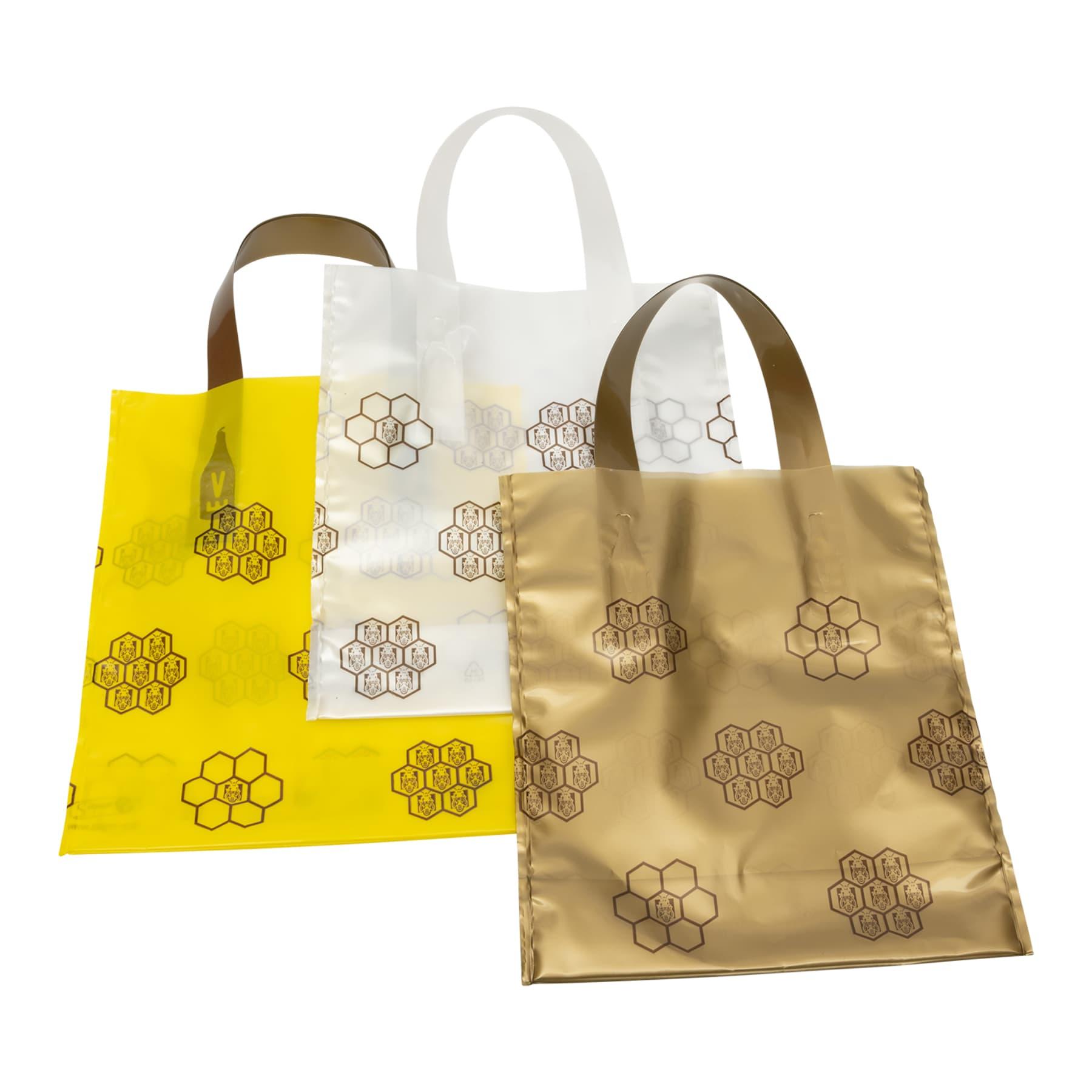 Geschenkbeutel 25 St. für 1 Glas Honig 500 g, dekorativer PE Beutel mit Wabenmuster verziert, Variante GOLD