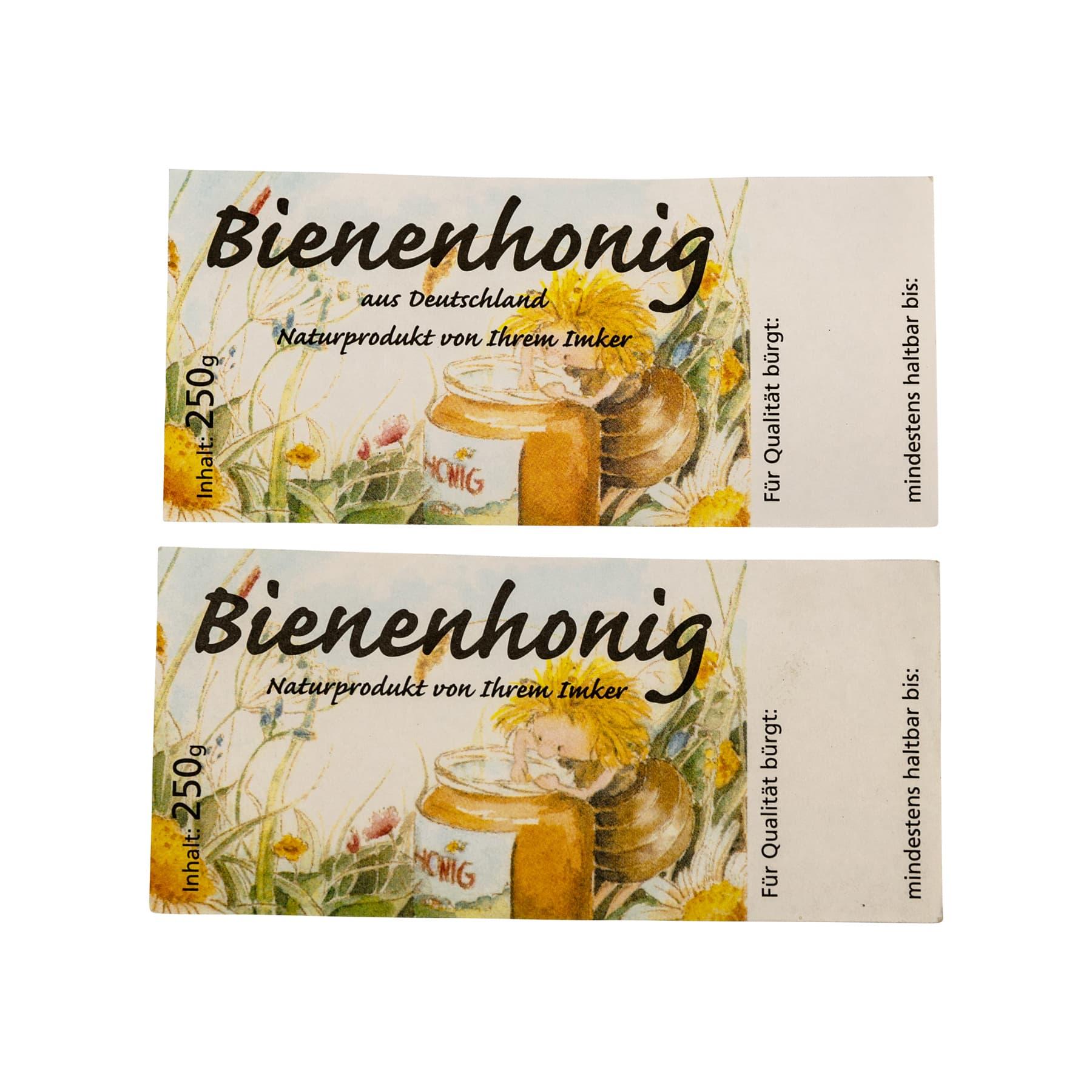 Honigetikett mit Schleckerbiene für 250 g Glas, nassklebend, 100 Stück OHNE Herkunftsbezeichnung