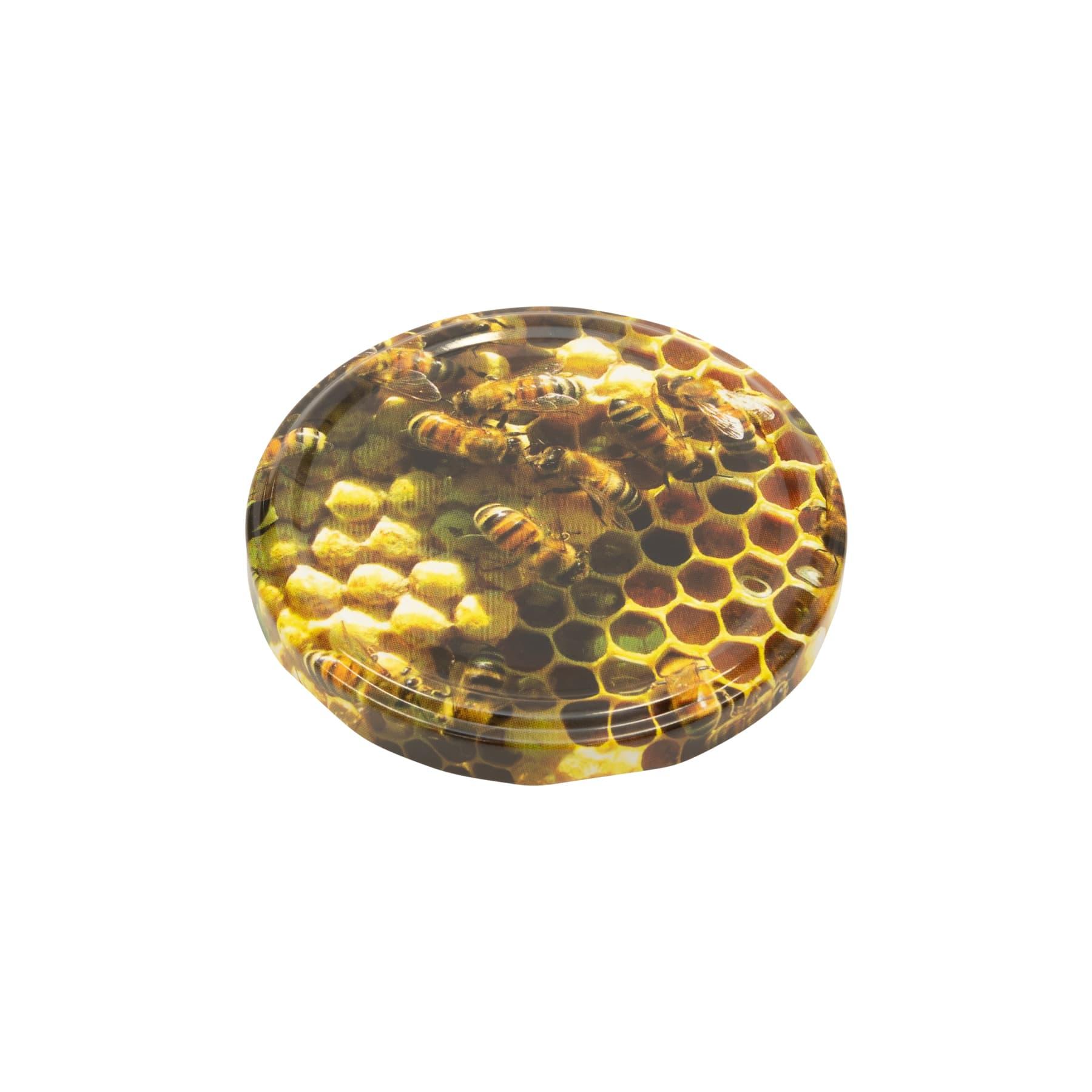 Twist Off Deckel Metall Bienen auf Wabe (Foto) 82 mm