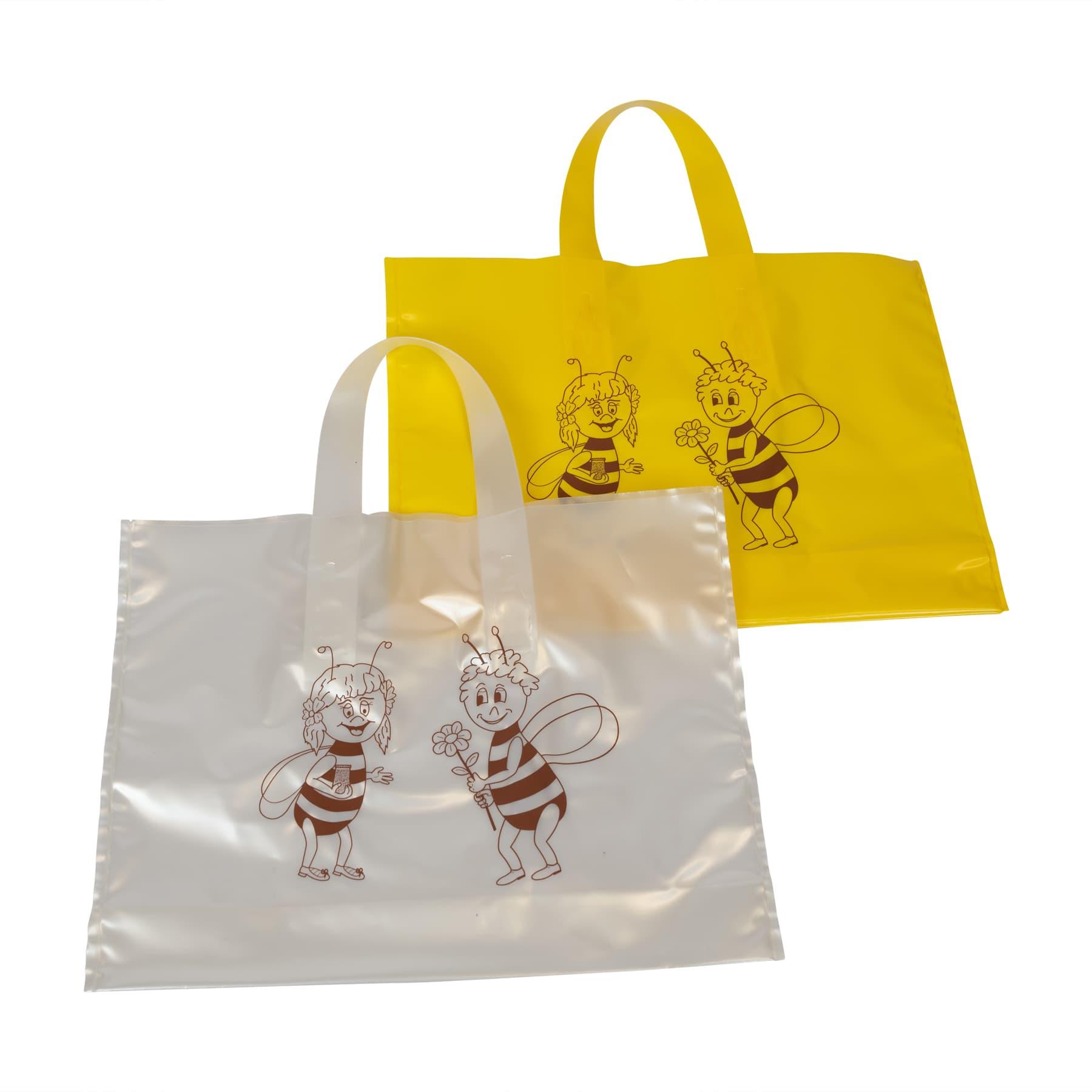 Geschenkbeutel 25 St. für 2 Glas Honig 500 g, dekorativer PE Beutel mit Biene (Mädchen und Junge) verziert, Varianten gelb, weiß