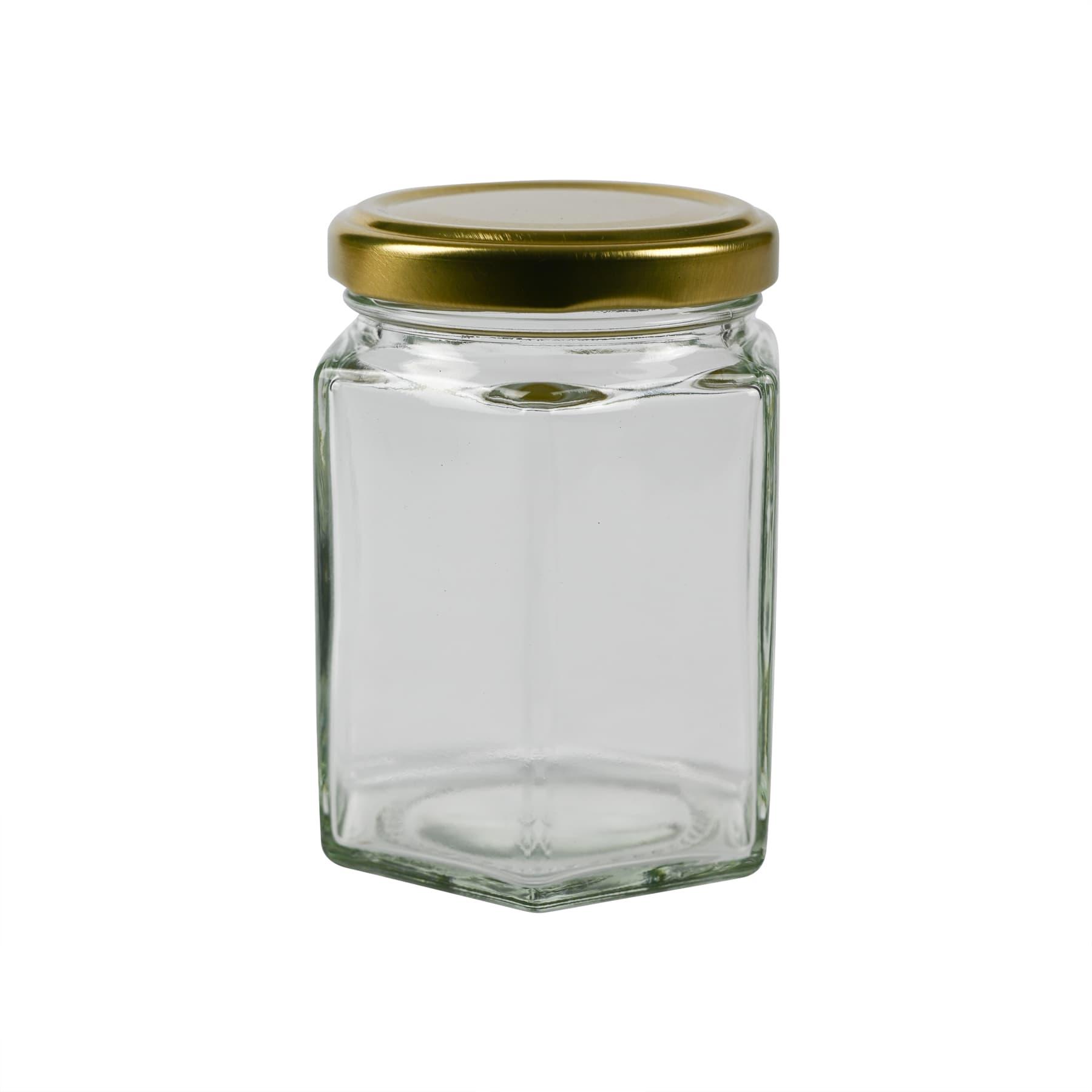 Sechseckglas 250 g (191 ml), mit Twist Off Metalldeckel To gold 58
