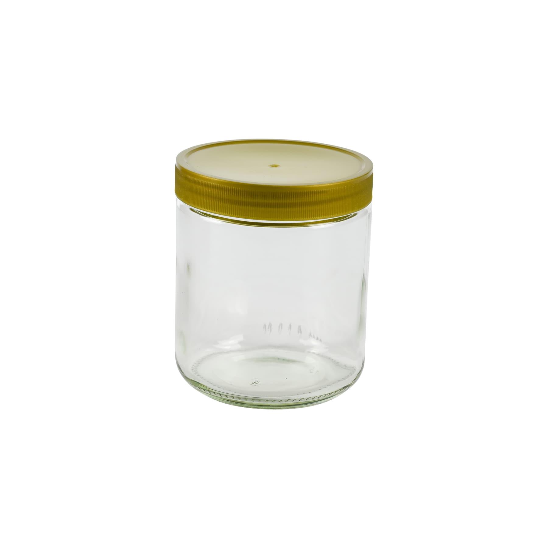 Rundglas 500 g mit 80 mm Schraub-Kunststoffdeckel in Karton, diesen Artikel bieten wir nur zur Selbstabholung an