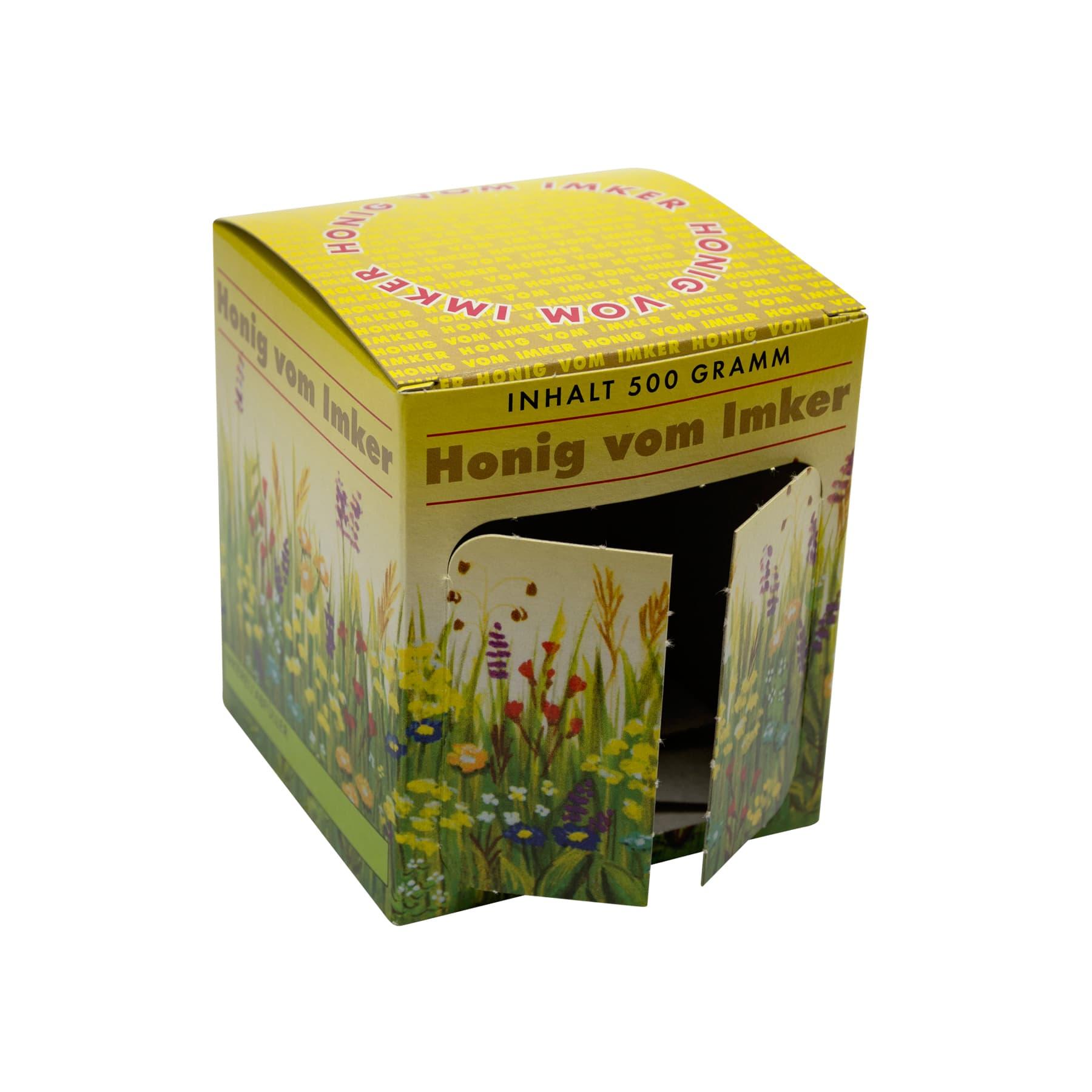 Kartonverpackung Blumenwiese für 1 x 500 g Honigglas