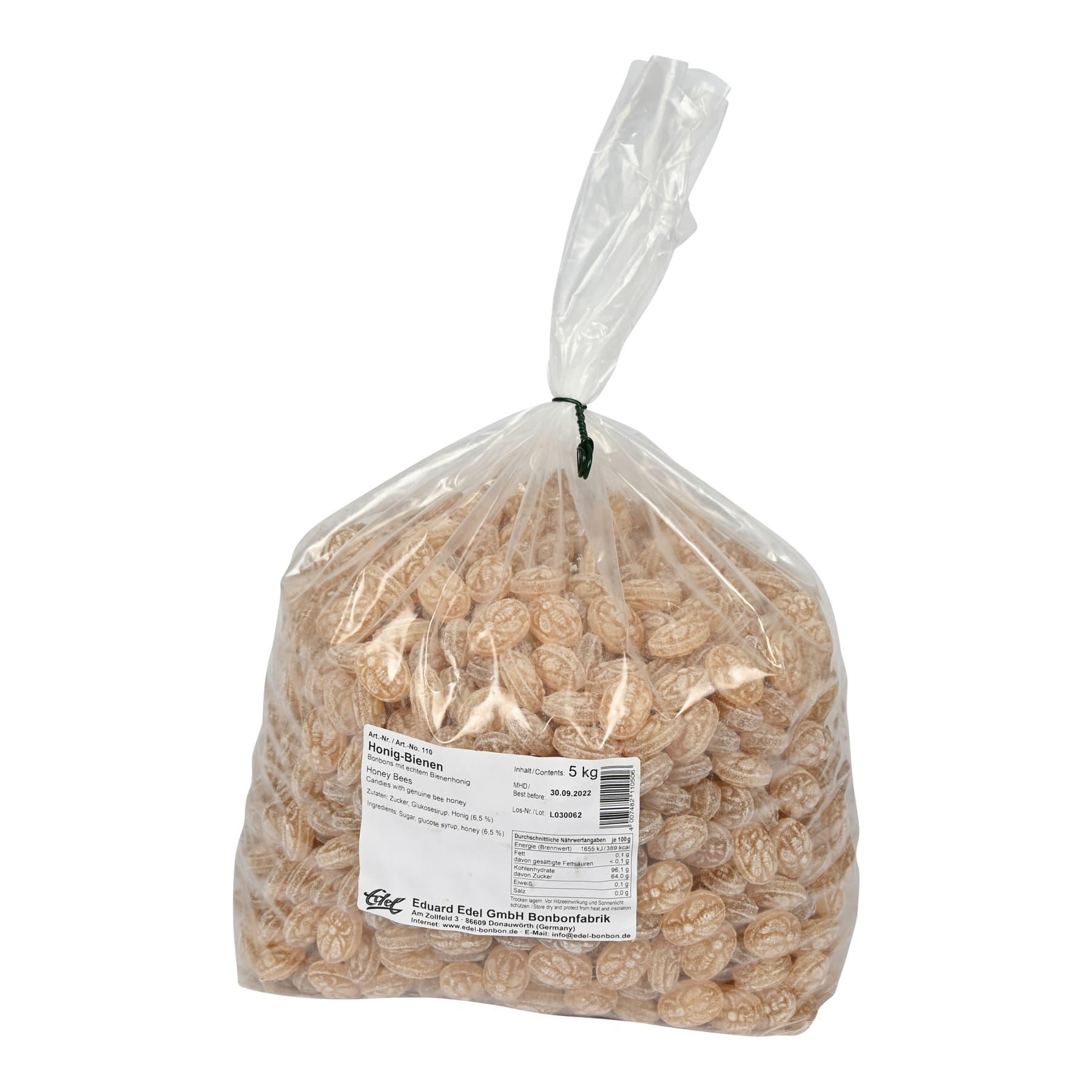 Honigbonbon ungefüllt mit Biene, im 5 kg Beutel