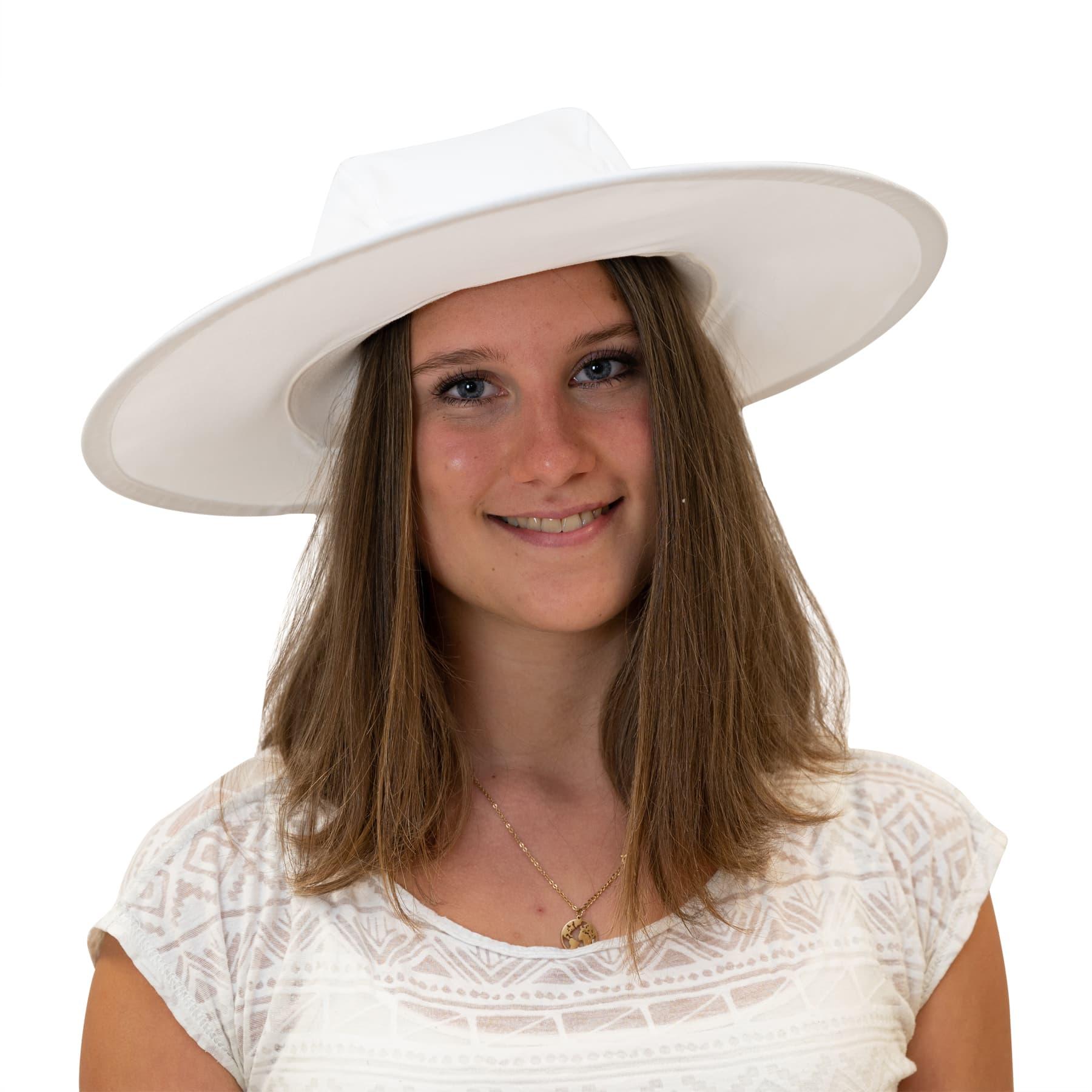 Imkerhut aus Baumwolle, weiß, große Krempe, Außendurchmesser ca. 38 cm