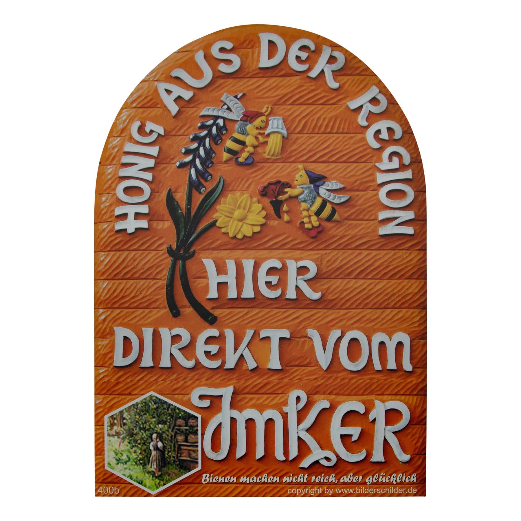 "Honigwerbeschild  ""Bienenkorb"" , 50 cm x 35 cm aus Aludibond"