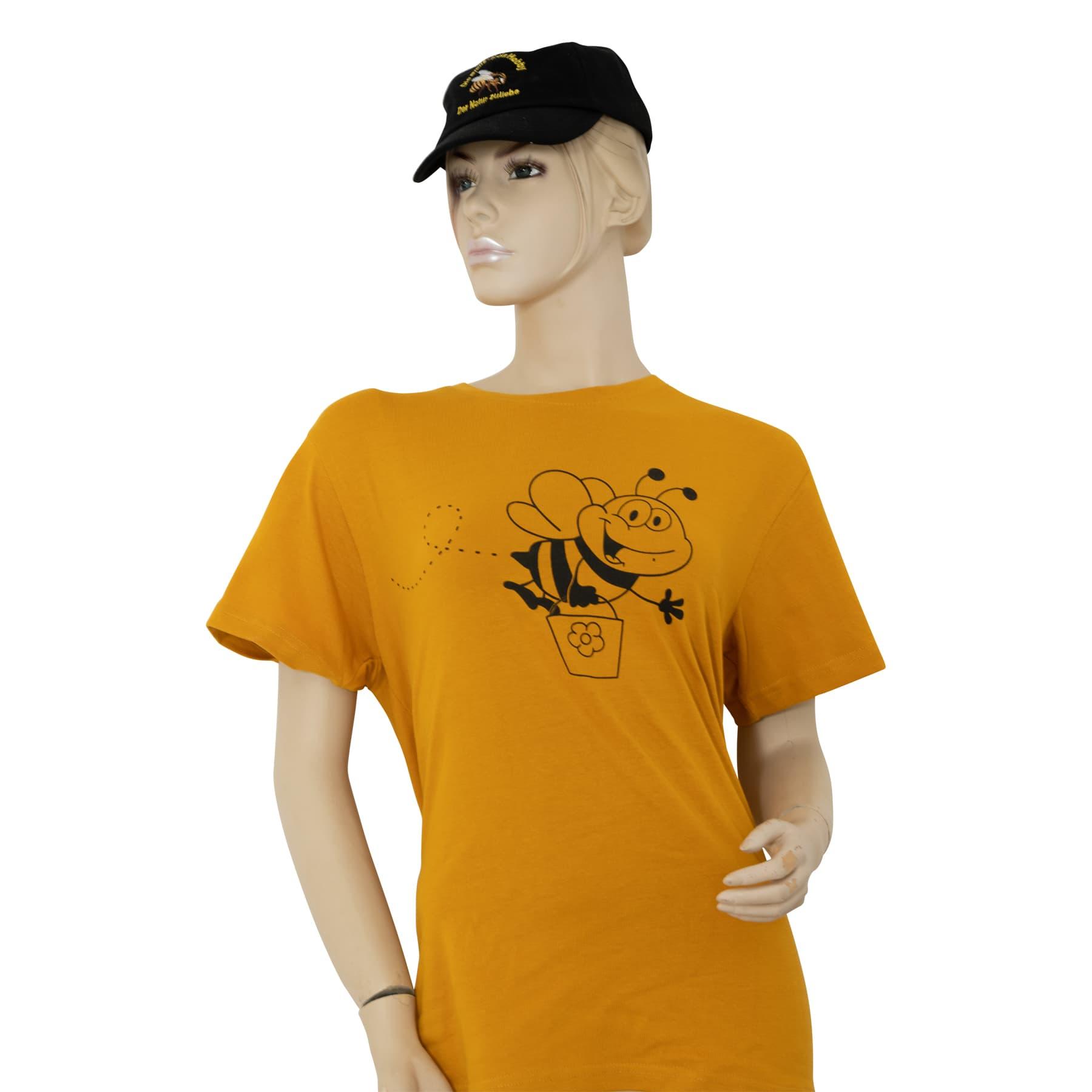 """T-Shirt """" Biene mit Honigeimer"""" gelb S"""