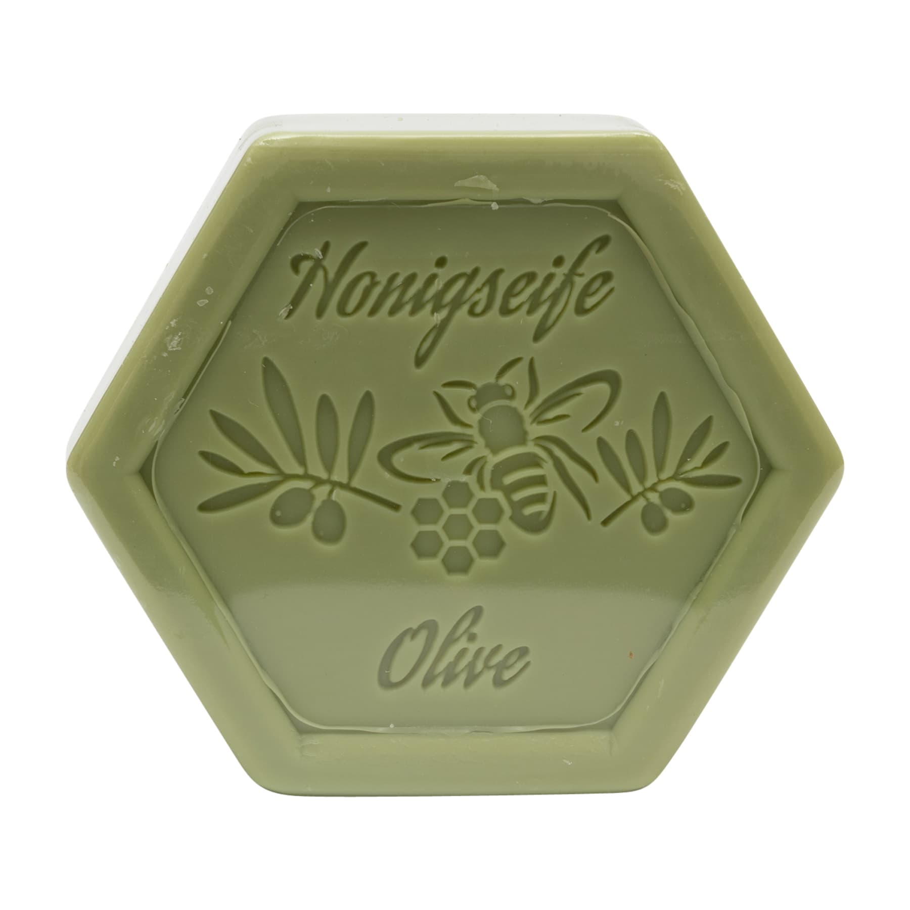 Honigseife mit Olive 100 g in Sechseckform, foliert und etikettiert