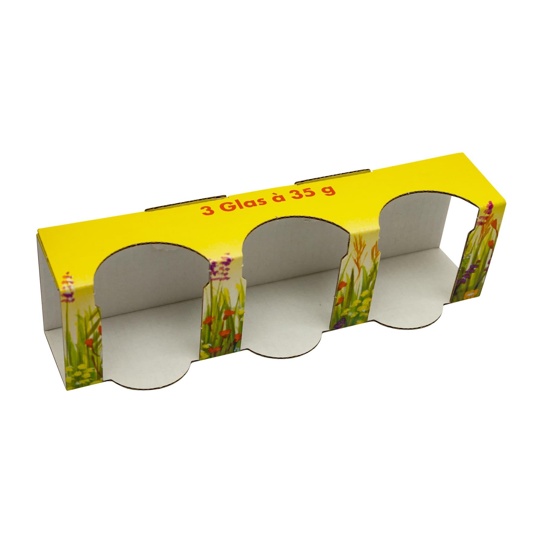Kartonverpackung Blumenwiese  für 3 x 35 g Honigglas