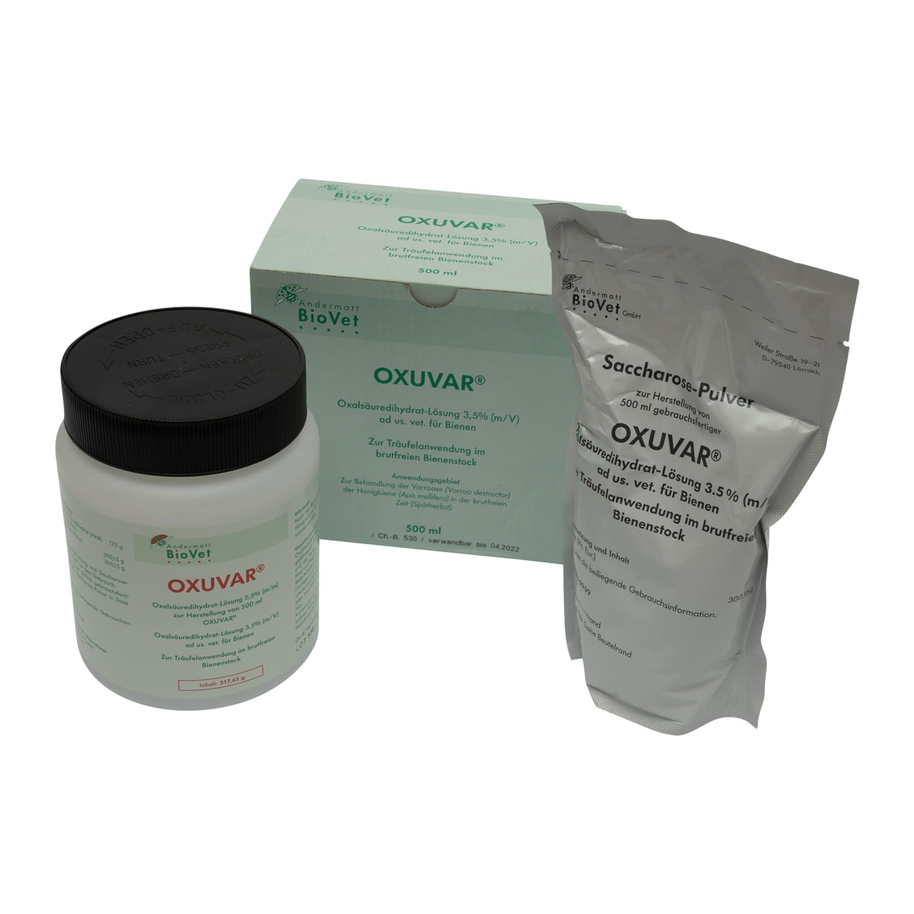 OXUVAR® (3,5 %) 500 ml, ein Set für die Träufelbehandlung  der Bienen gegen Varroatose (Hauptwirkstoff Oxalsäure 3,5 %)
