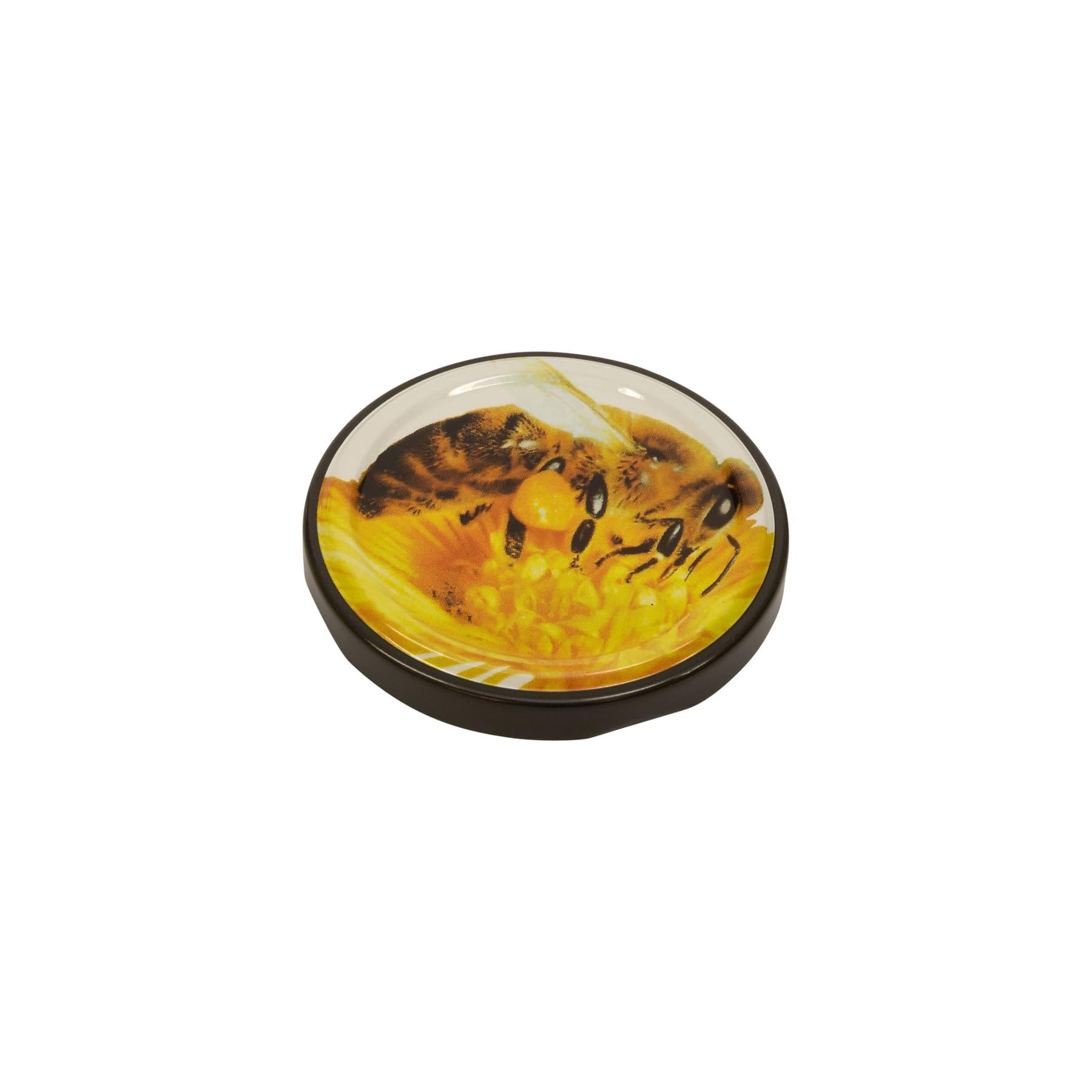 Twist Off Deckel Metall große Biene auf Blüte 66 mm