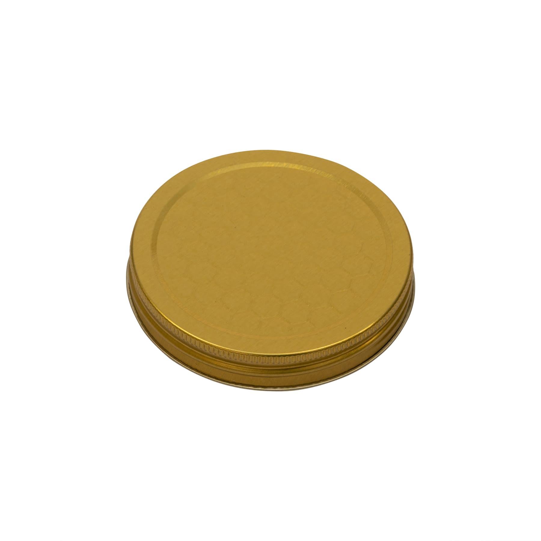 Schraubdeckel metall für 250 g Glas (Weißblech gold lackiert) mit geprägtem Wabenmuster 68/16 mm