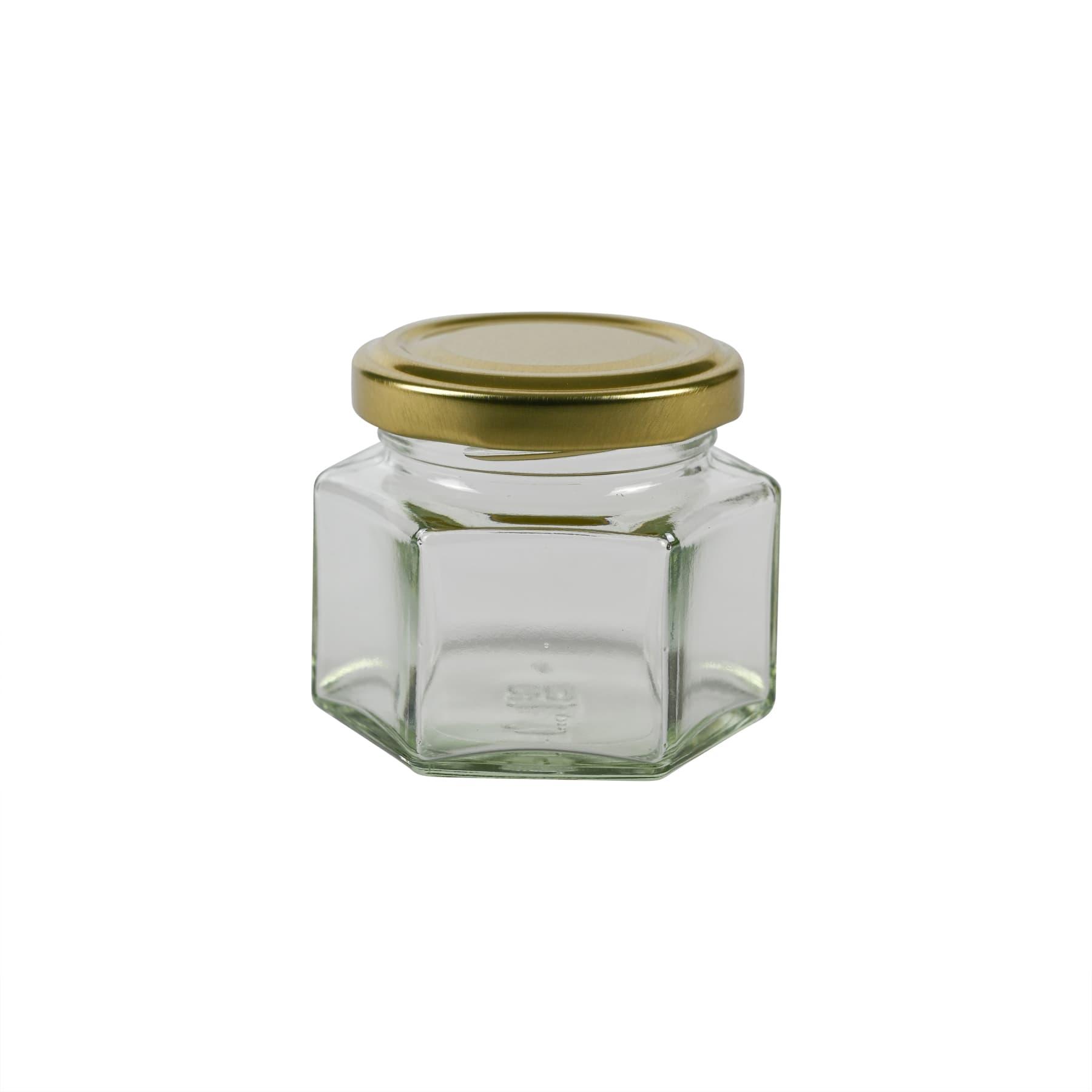Sechseckglas 125 g (106 ml), mit Twist Off Metalldeckel gold 53