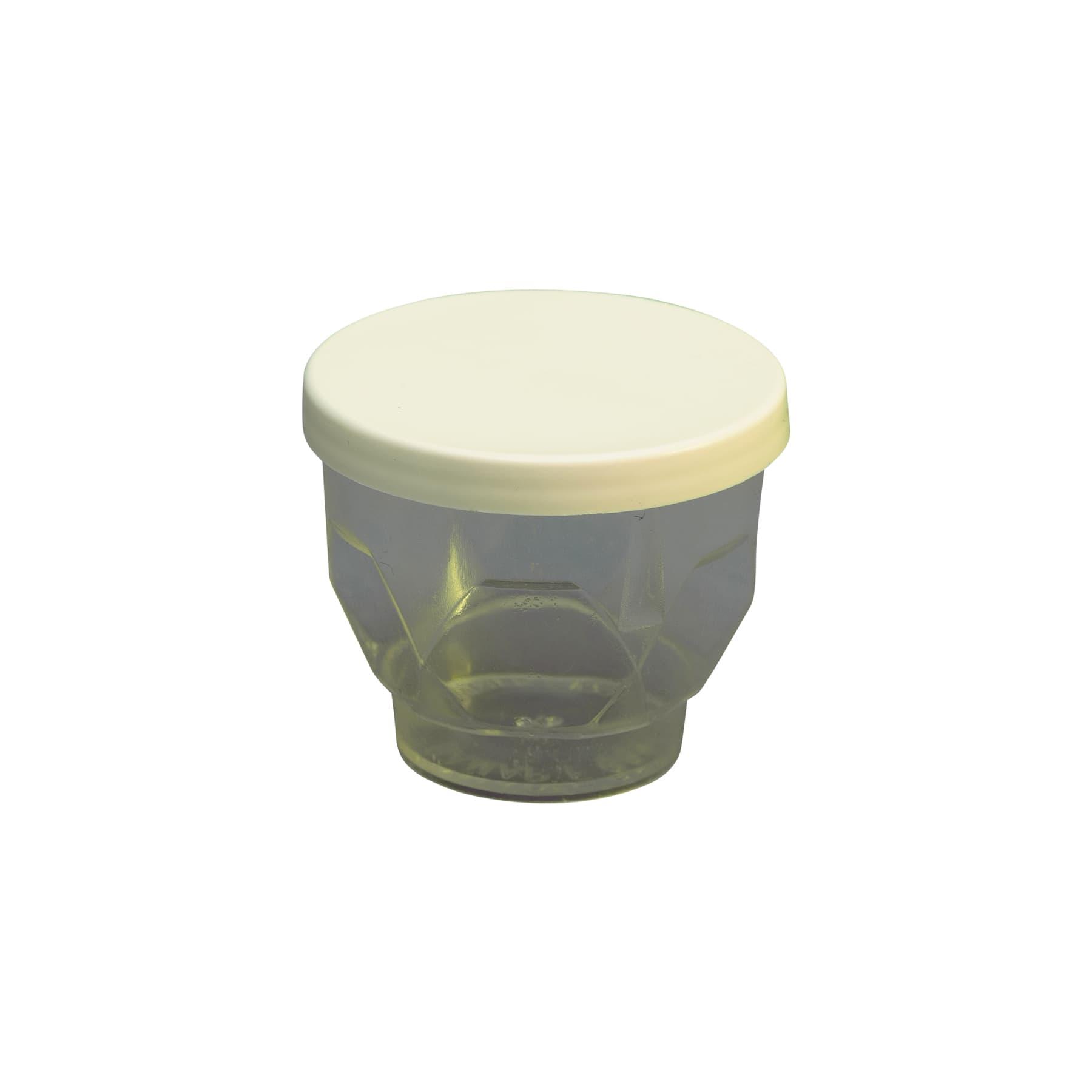 Probierbecher klar, eckig mit weißem Deckel ca. f. ca. 30 g Honi