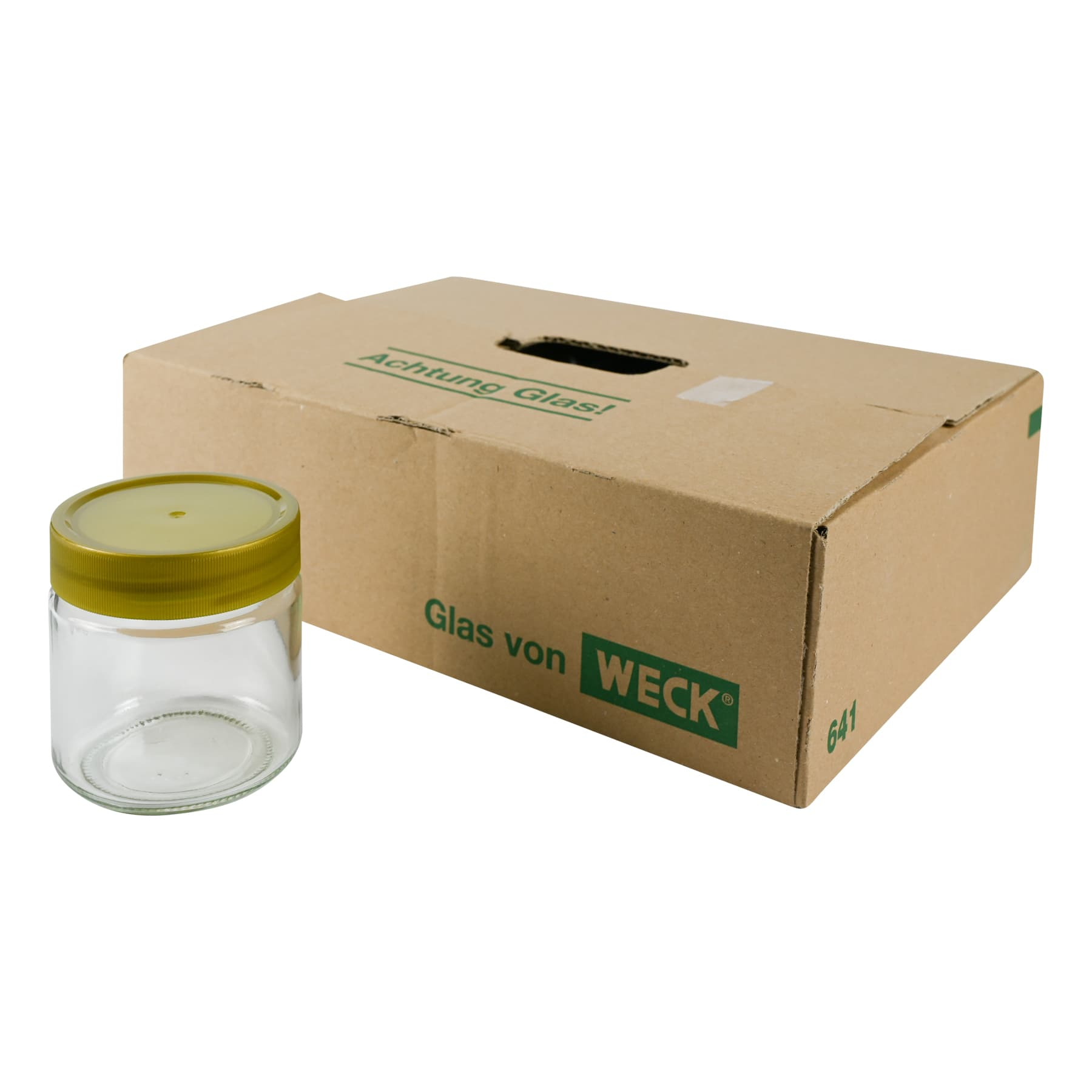 Rundglas 250 g mit Schraubdeckel 68 mm Kunststoff, im Karton, 3780 St. (Art.641) bundesweit frei Haus Deckel werden i.d.Regel separat per DHL gesendet