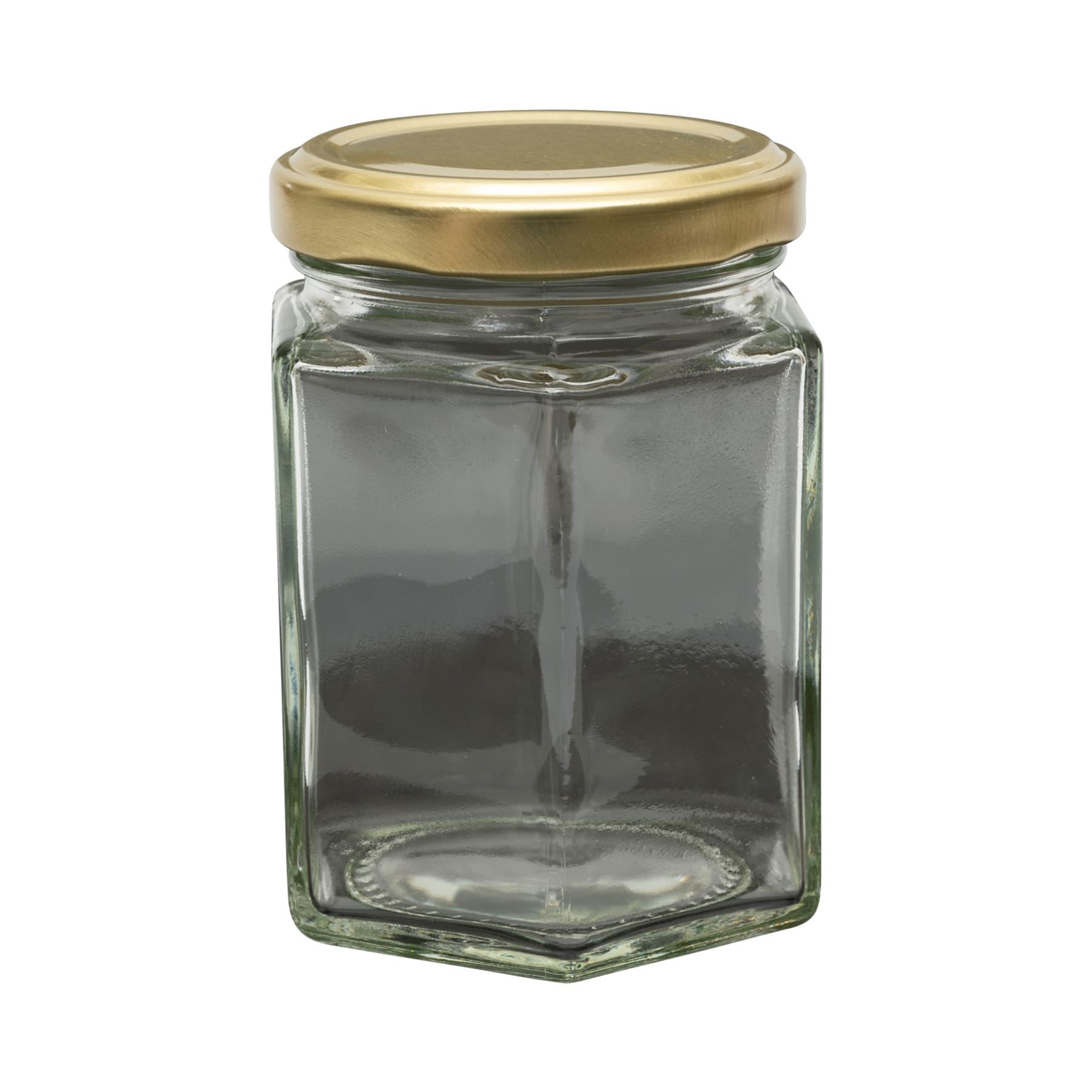 Sechseckglas 250 g (195 ml) 1 PAL(2849 Stk.) inkl. TO Metalldeckel gold 58mm, lose, FREI HAUS