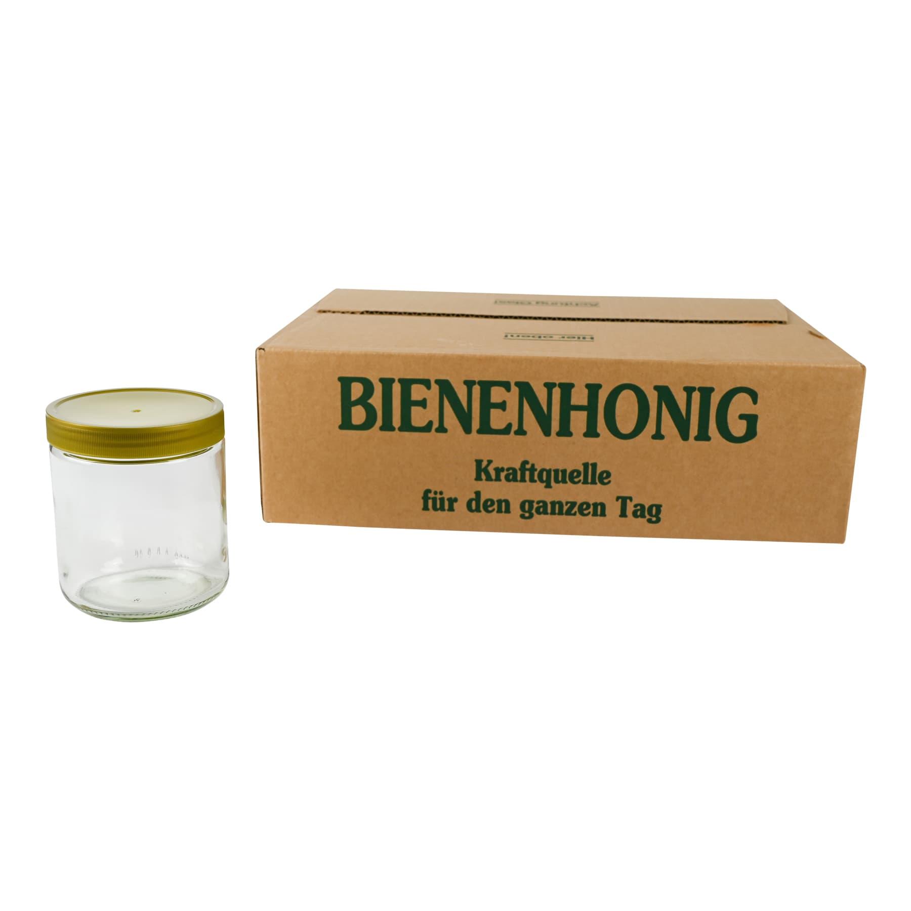 Rundglas 500 g 1 Palette (2244 St.) mit Schraubdeckel aus Kunststoff im 12er Karton, FREI HAUS