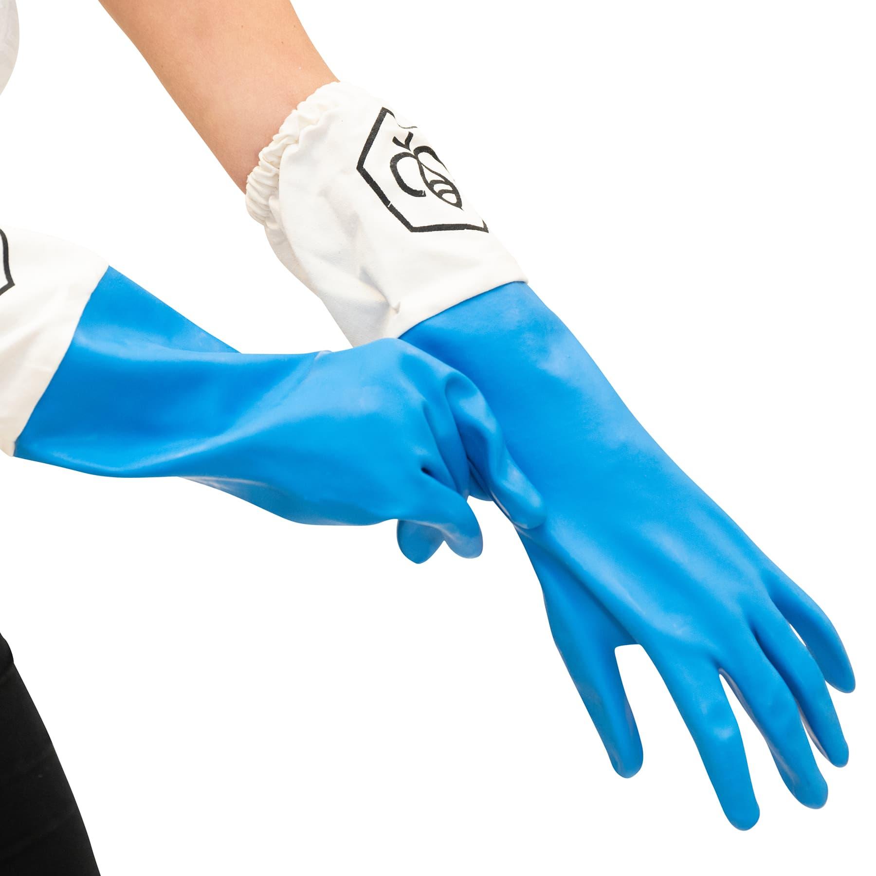 Gummihandschuhe hellblau mit Stulpe Gr. 9 (M)
