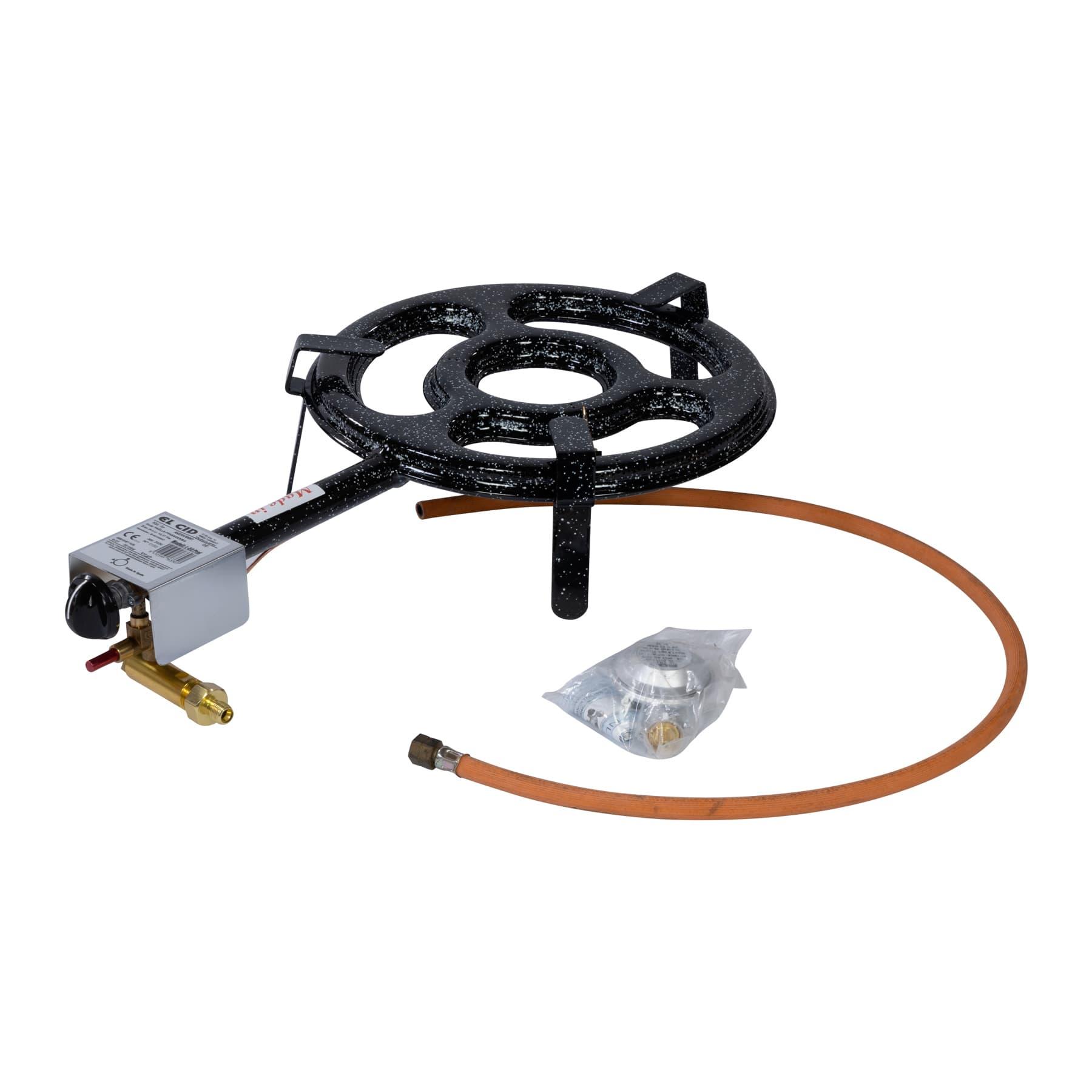 2-Ring Gasbrenner mit Zündsicherung 30cm, 10,37 kW max. 12,55 kW incl. Schlauch u. Druckminderer
