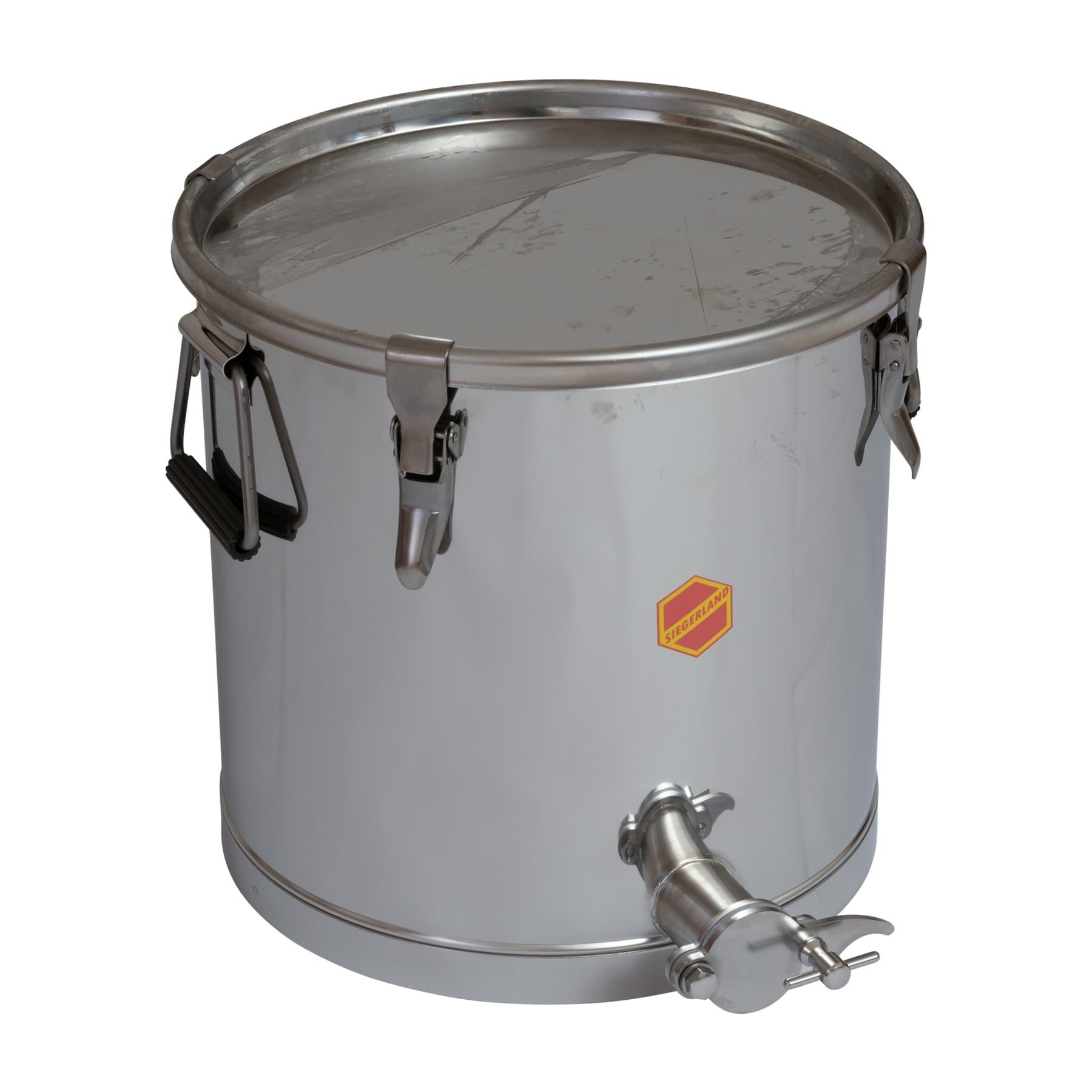 Abfüllbehälter  25 kg mit Spannverschlüssen, Original Siegeland