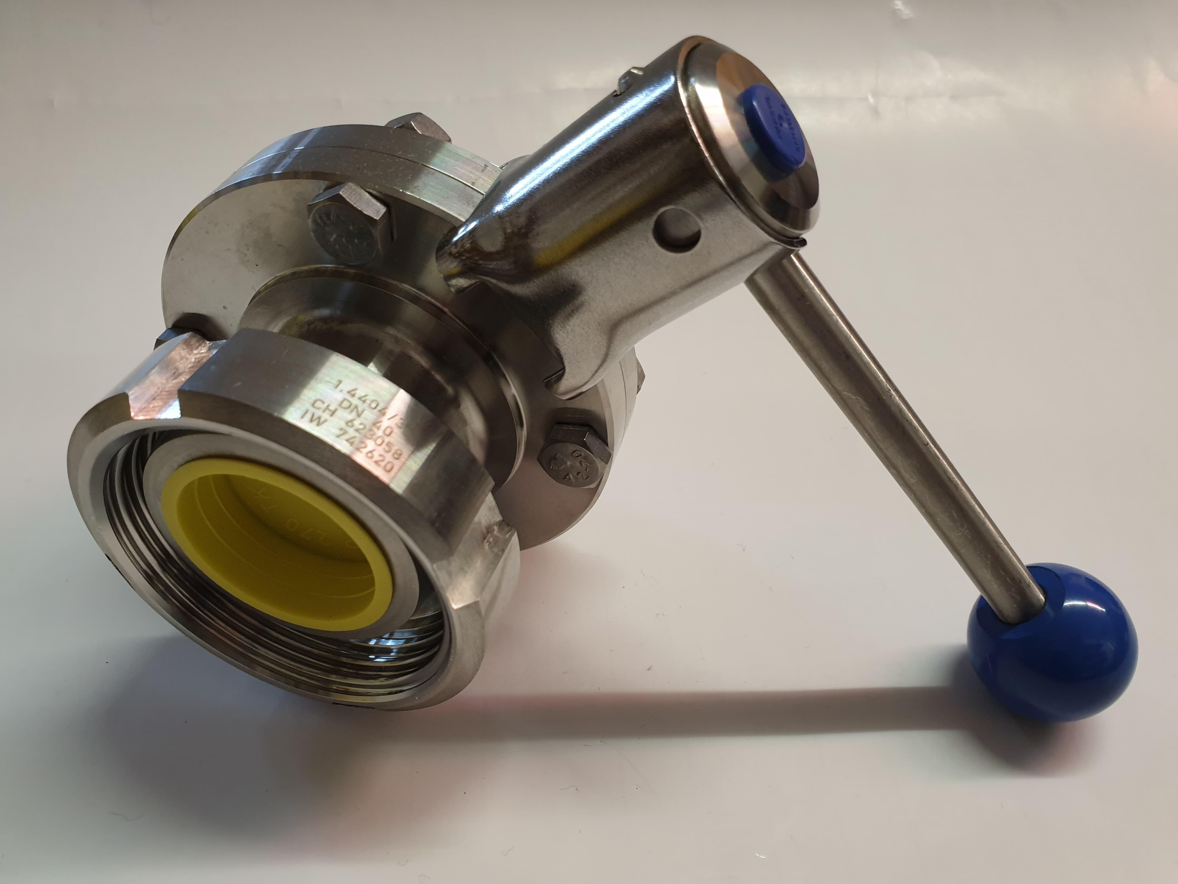 """Scheibenventil DN 40 mit Überwurfmutter u. Milchaußengewinde RD 65x 1/6"""" (DN 40) z. B. zur Montage an einen Behälter mit DN 40 Außengewinde"""