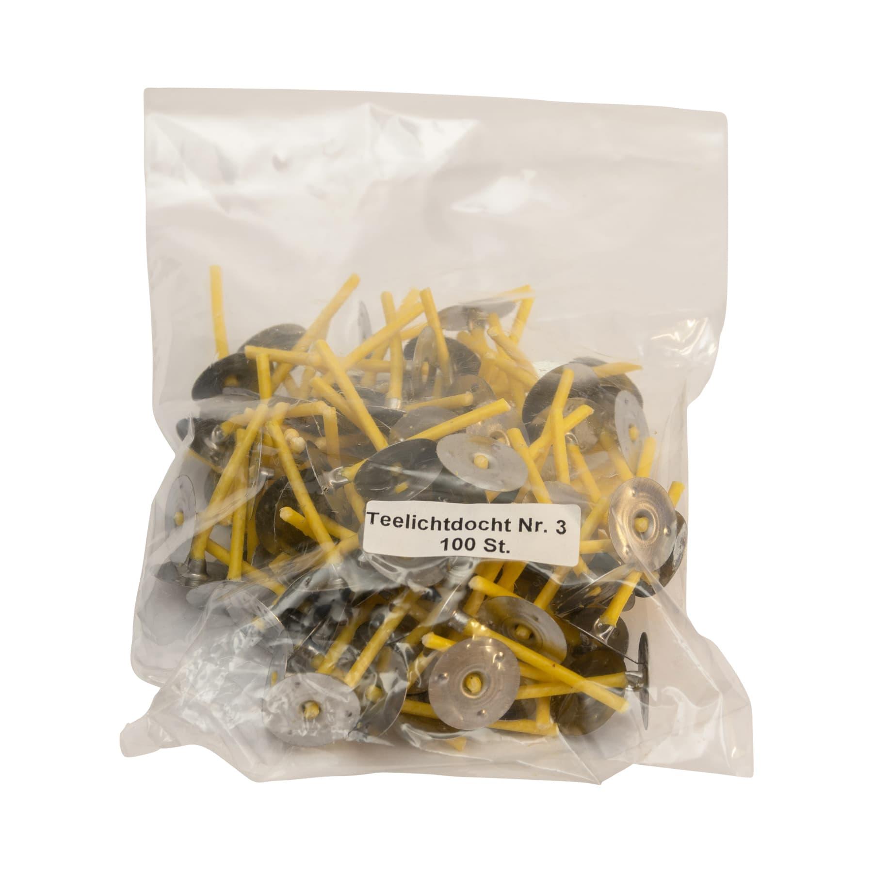 Teelichtdochte naturgelb mit Metallplättchen, RD 3, 30 mm, 100 St.