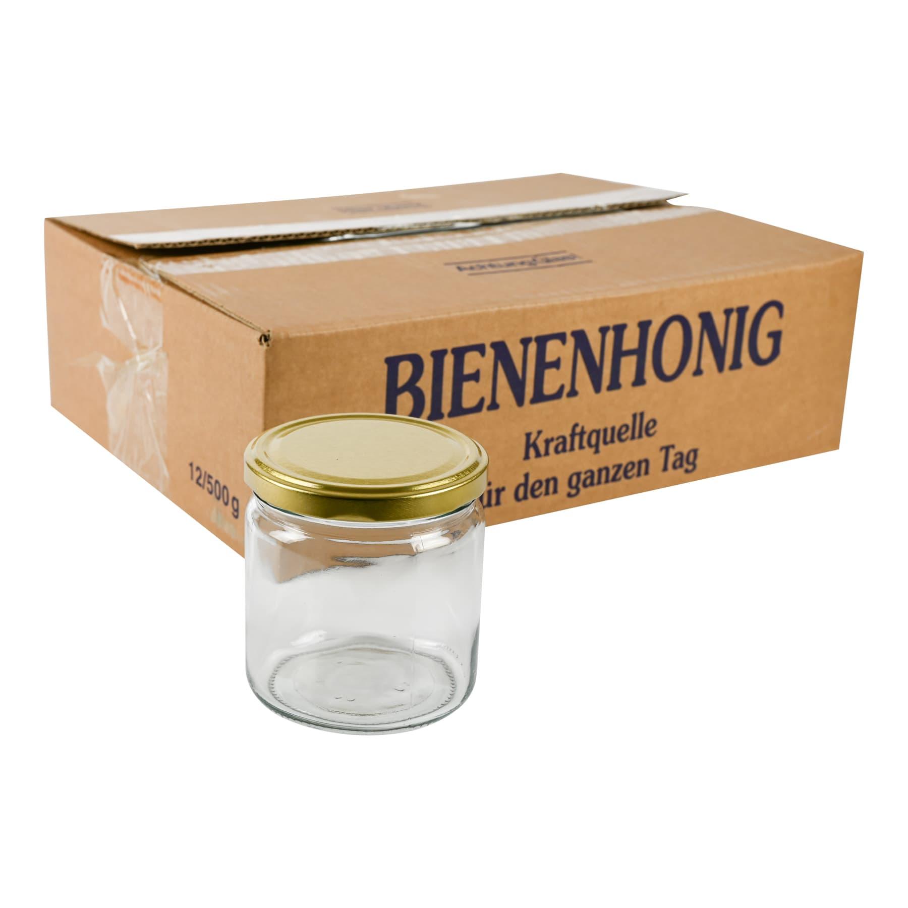 Rundglas 500g (405 ml), mit T0  Deckel gold 82 mm im 12 Karton Selbstabholung